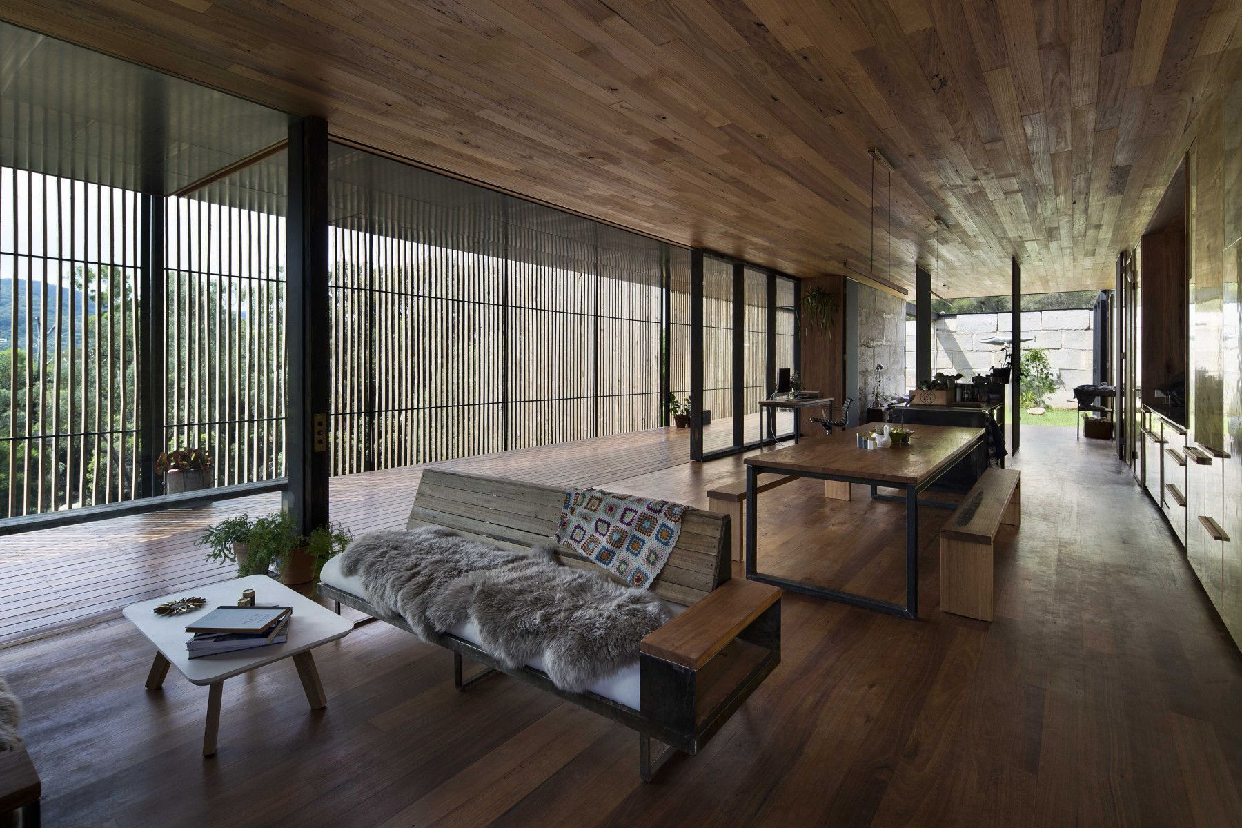 Concrete blocks and wooden interior architecture