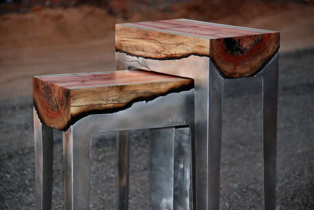 Metal and wood furniture by Hilla Shamia