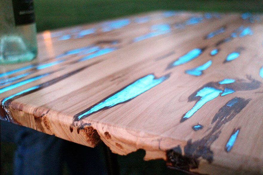 Wooden Glow Dark Table