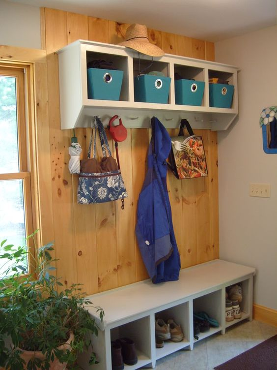 Wooden Shelves Entryway