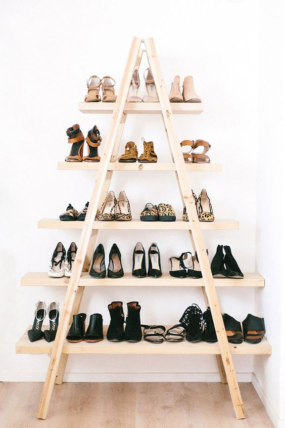 Ladder Shoe Shelf Rack Ideas