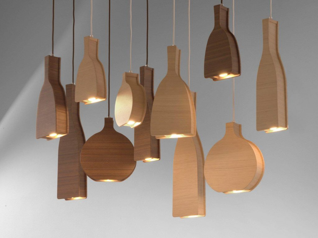 Wood Shape Ceiling Lamp Idea