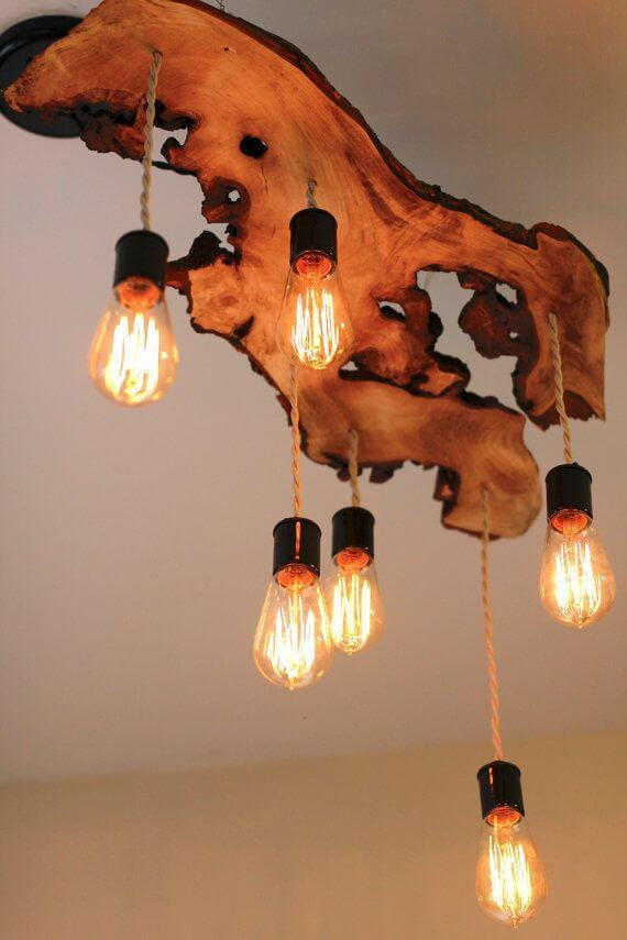 Wood Slice Ceiling Lamp Idea