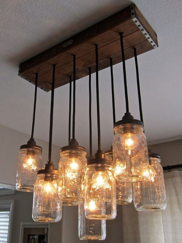 Wood Beam Glass Jar Ceiling Lamp