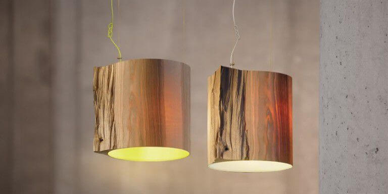 Wooden Log Ceiling Lamp Idea