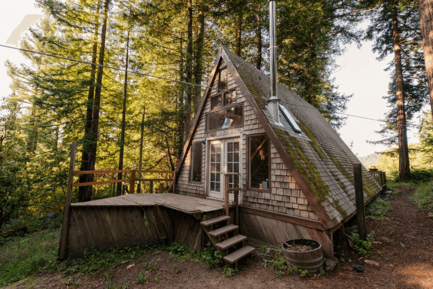 Wooden A-Frame Cabin in the Redwoods