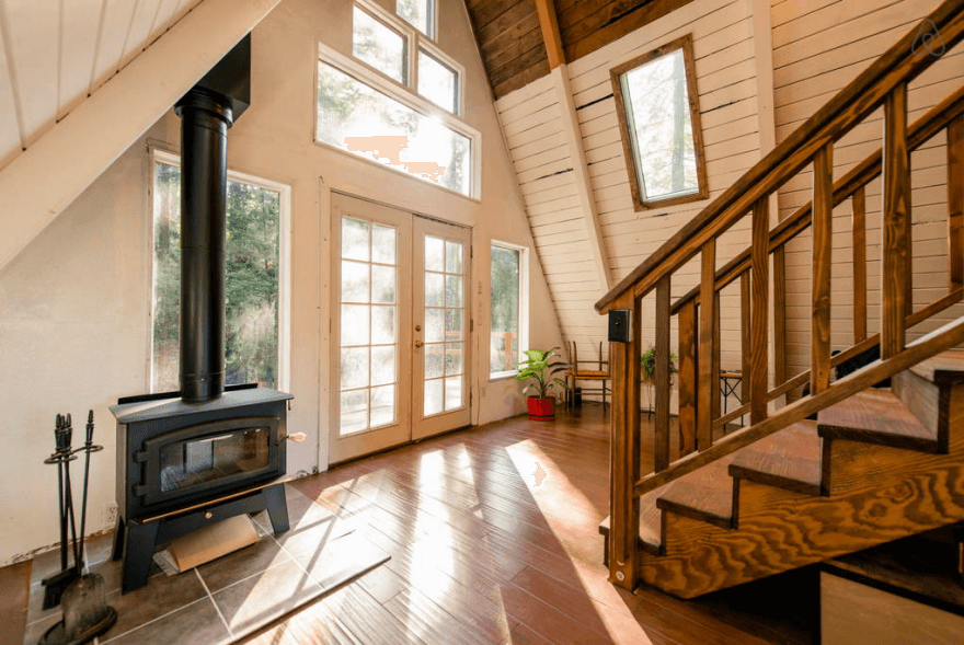 Wooden A-Frame Cabin in the Redwoods Wood-burning stove