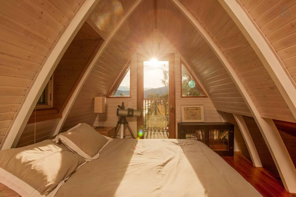 cozy bedroom wooden interior