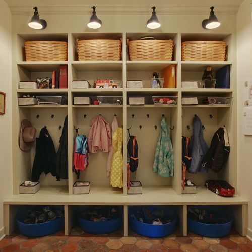 Closet Mudroom Wood Compartments
