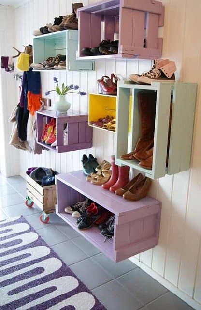 Mudroom Storage Crates Wood