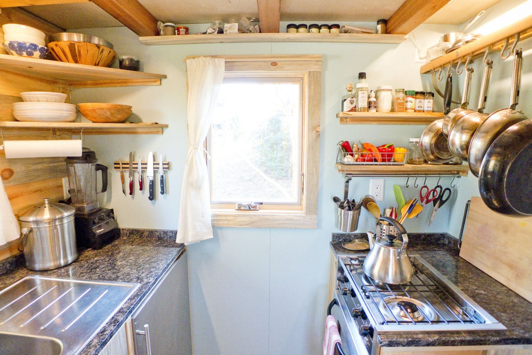 tiny home kitchen wood details