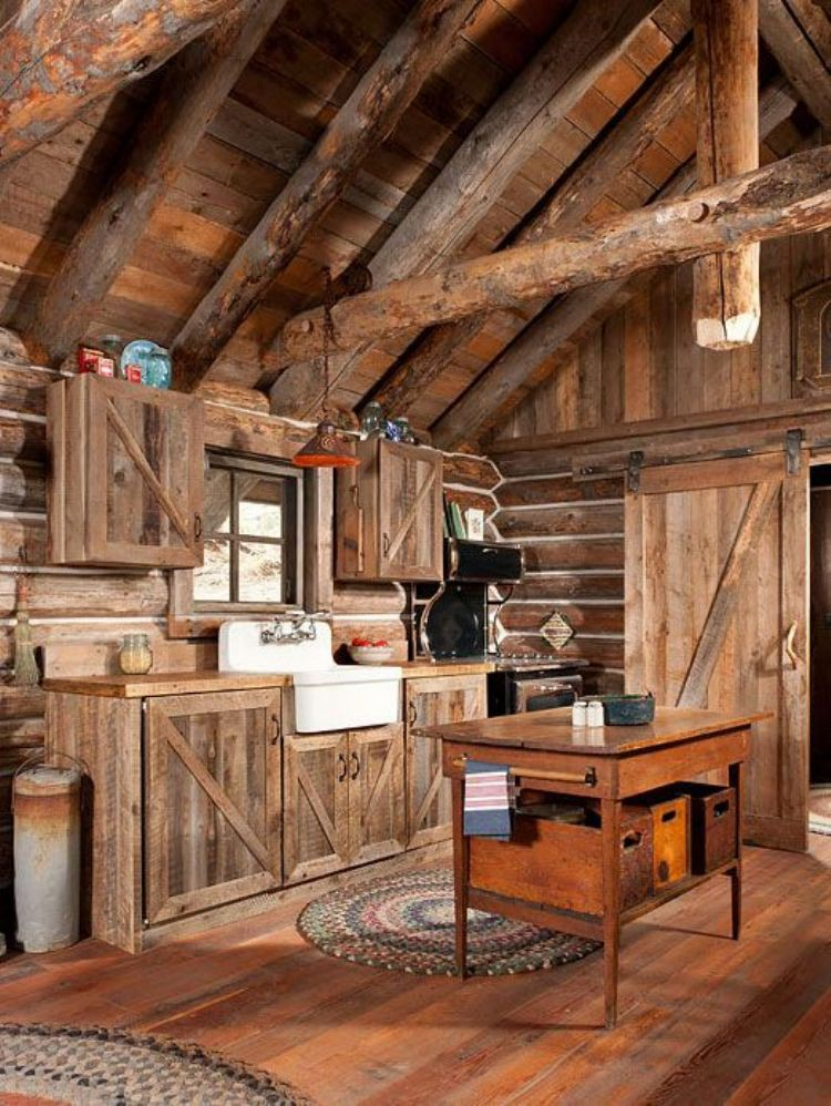 Rustic cabin interiors finest this guy built a rustic for Interior designs for log cabins