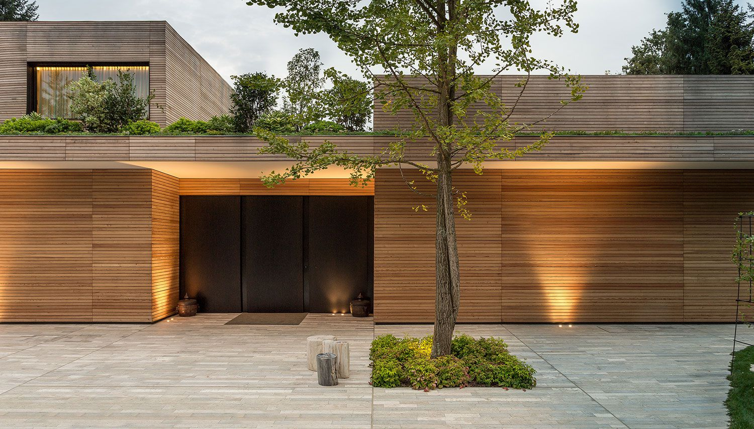 modern architecture emphasizing wooden design house facade