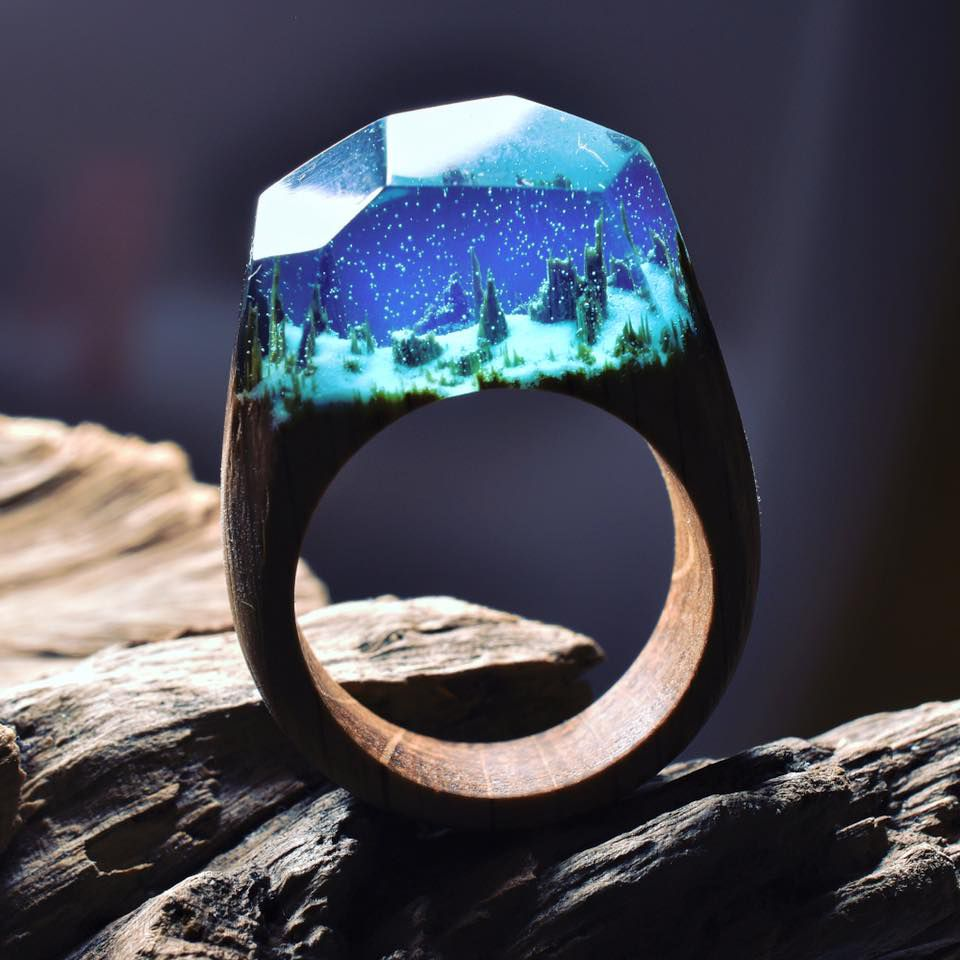 Secret wood ring collection tiny worlds