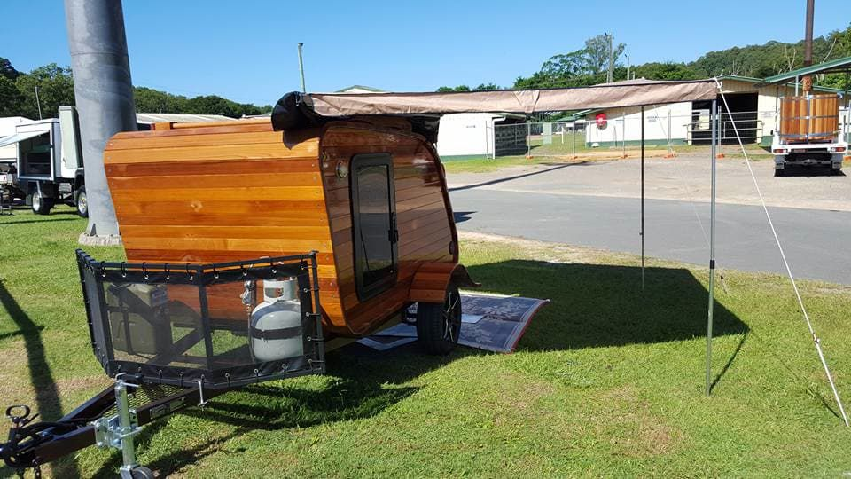 Teardrop trailer made of red cedar wood