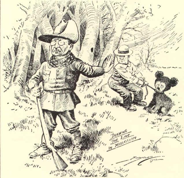 Theodore Roosevelt Louisiana black bear teddy bear cartoon