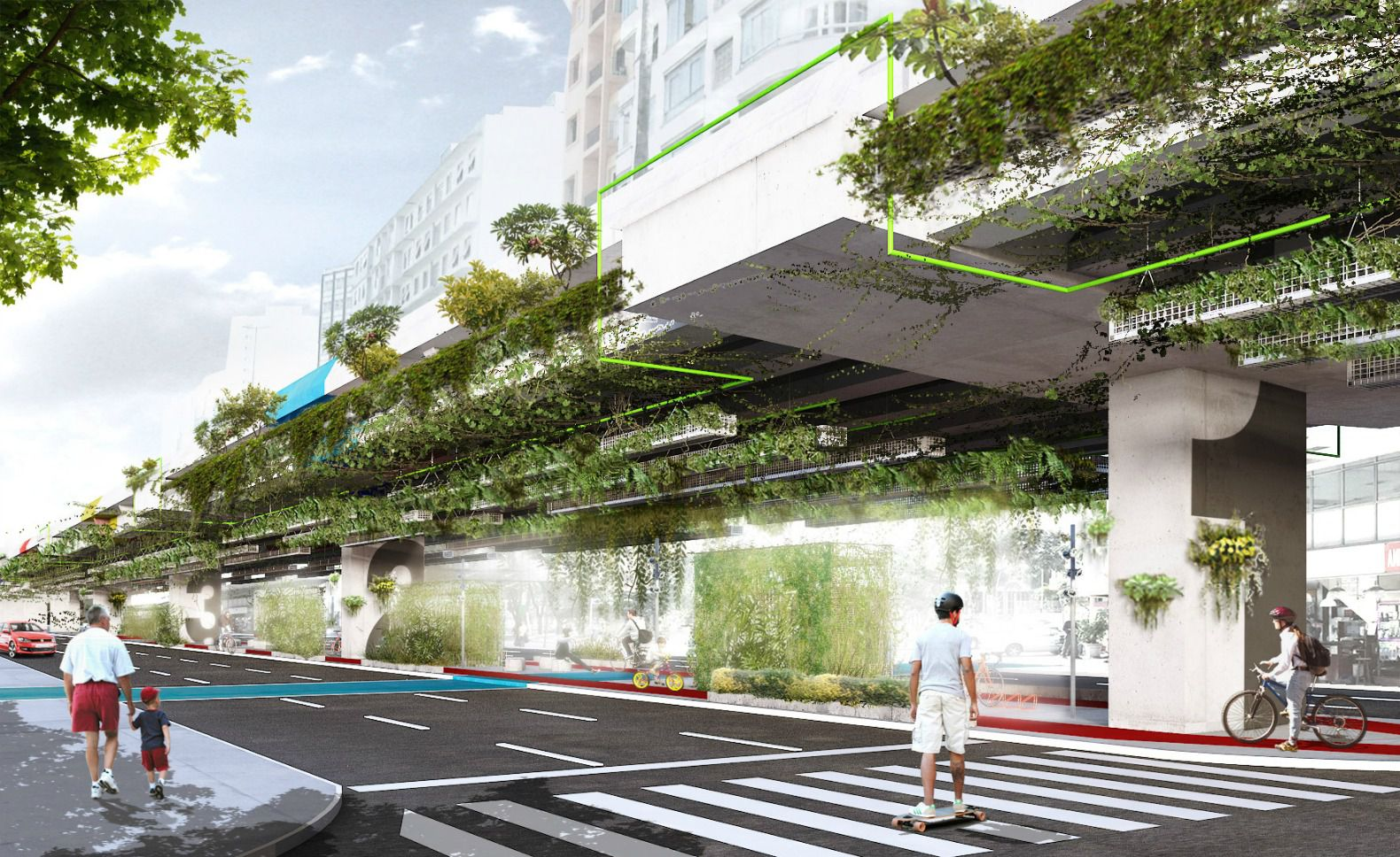 Hanging highway garden in Sao Paolo reduce 20% of carbon emissions