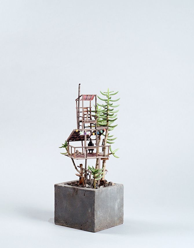 Miniature tree huts built around house plants