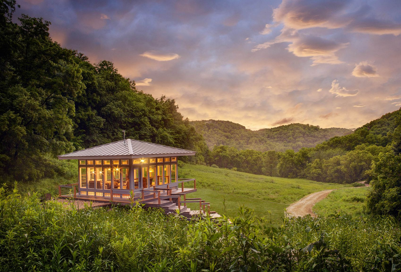The Meadow house is located a few miles from the town of Madison, Wisconsin in a wide, verdant clearing in ...