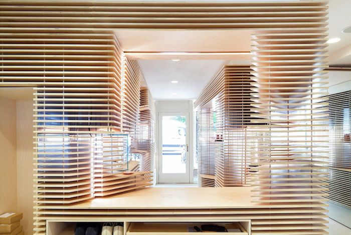Wooden Layered Interior Within New York Shoe Store