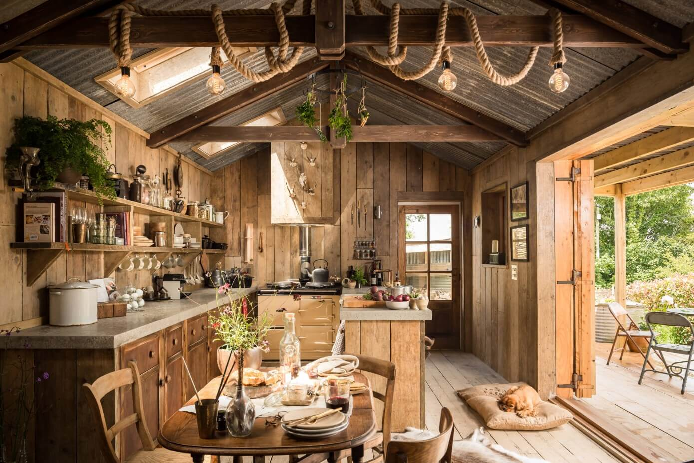 The rustic charm of wood. Kitchen and dining room.