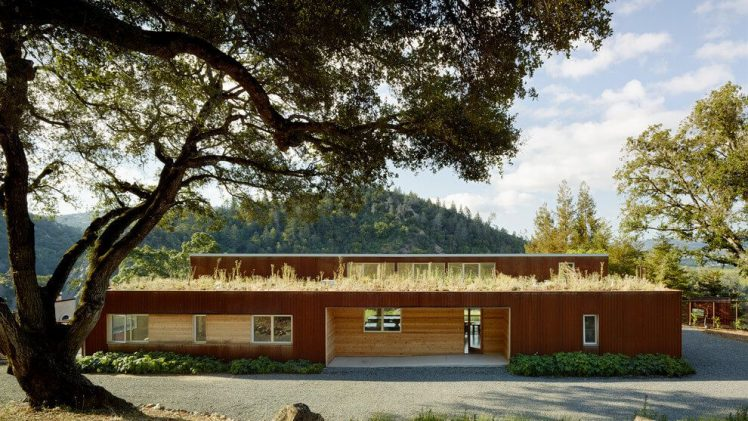 Wooden family house located in the vineyard above Cloverdale on a steep south slope overlooking the valley below.