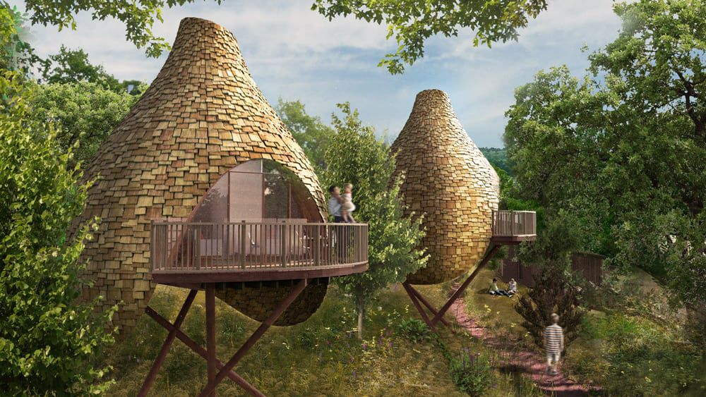 Energy-Efficient Bird Nest-Shaped Treehouses