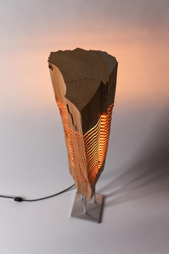 wood Sculpture lamp design warm illuminated light
