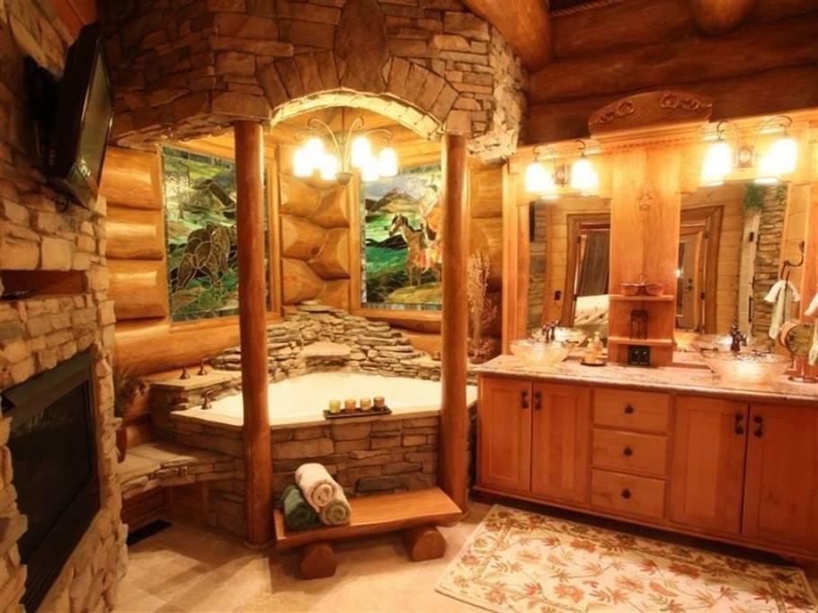 wood design log house bathroom tub