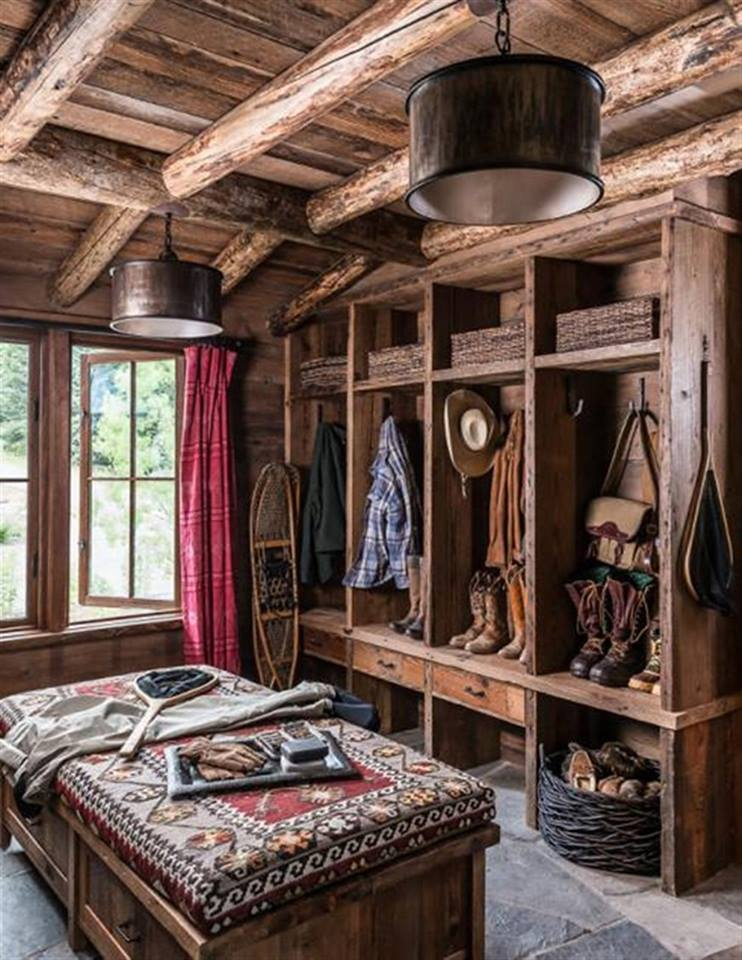 log house wooden mudroom design rustic style