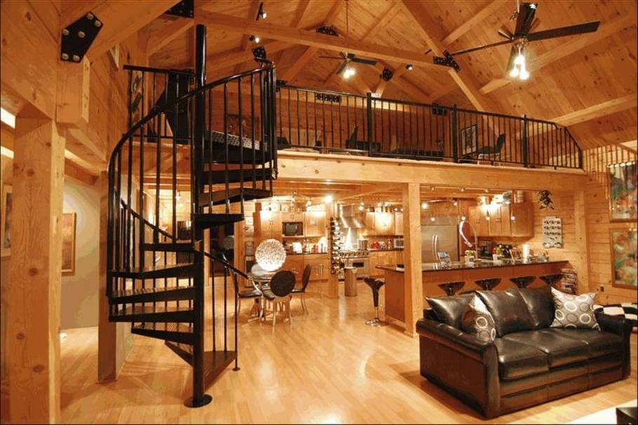 open space wood interior, black metal spiral staircase
