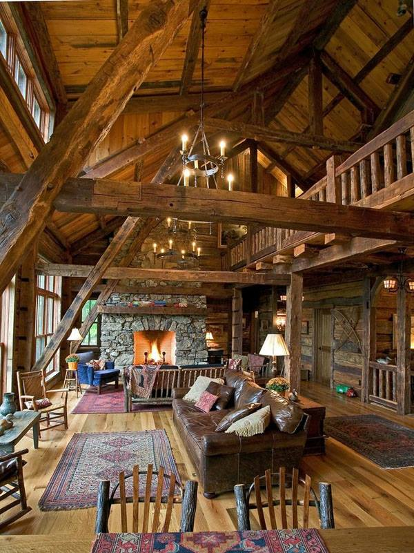 visible open space wood truss and stone fireplace, living room