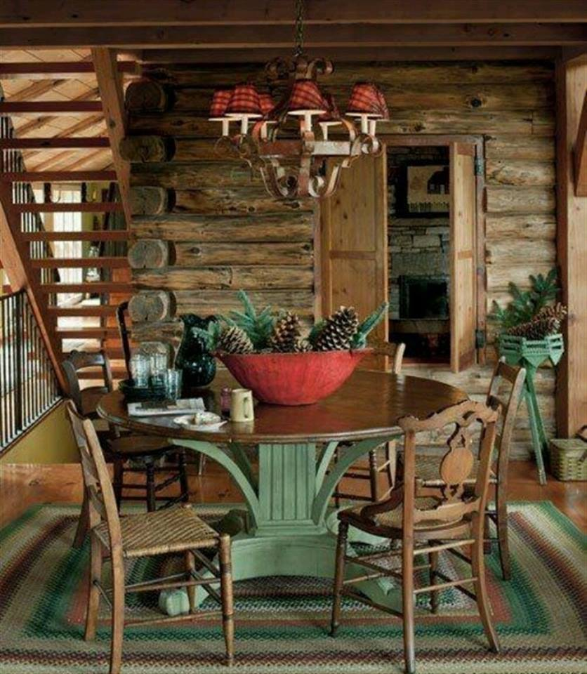 rustic log house dining room emphasis green