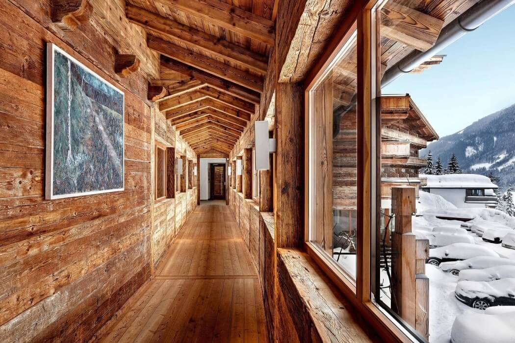 wood hall with open ceiling and wooden wall, floor