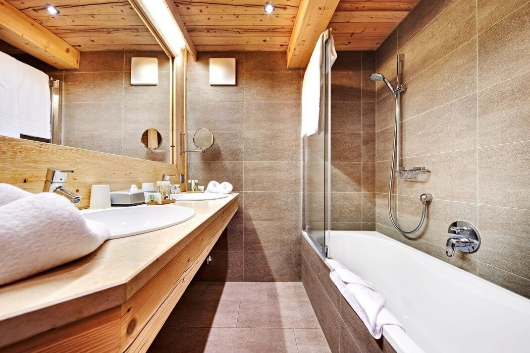 bathroom withwood ceiling and sink design ideas
