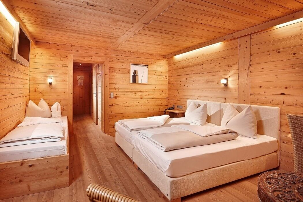 wood wall, ceiling and flooring ideas, bed with lamp, bedroom design