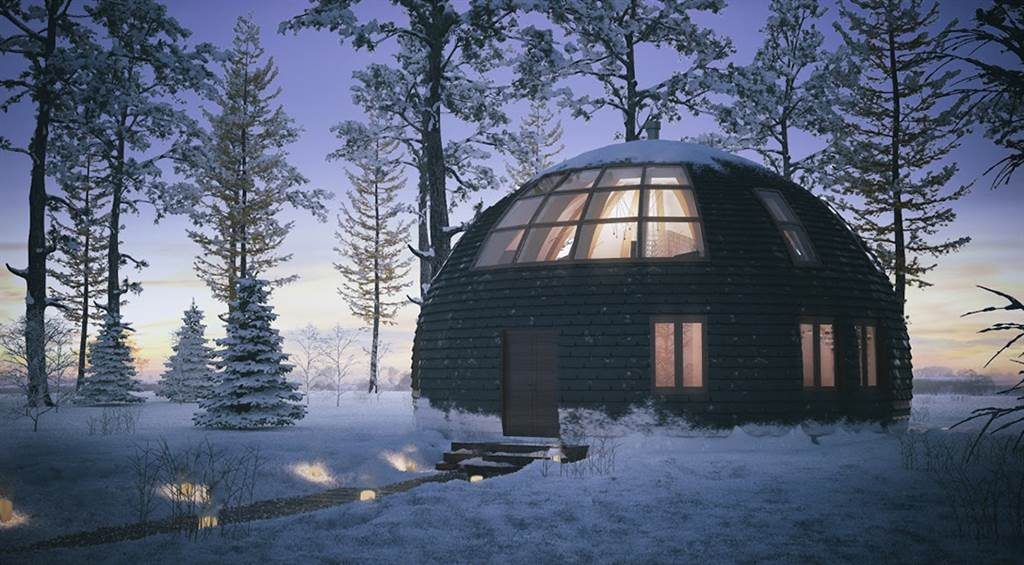 Snowy Dome house in winter