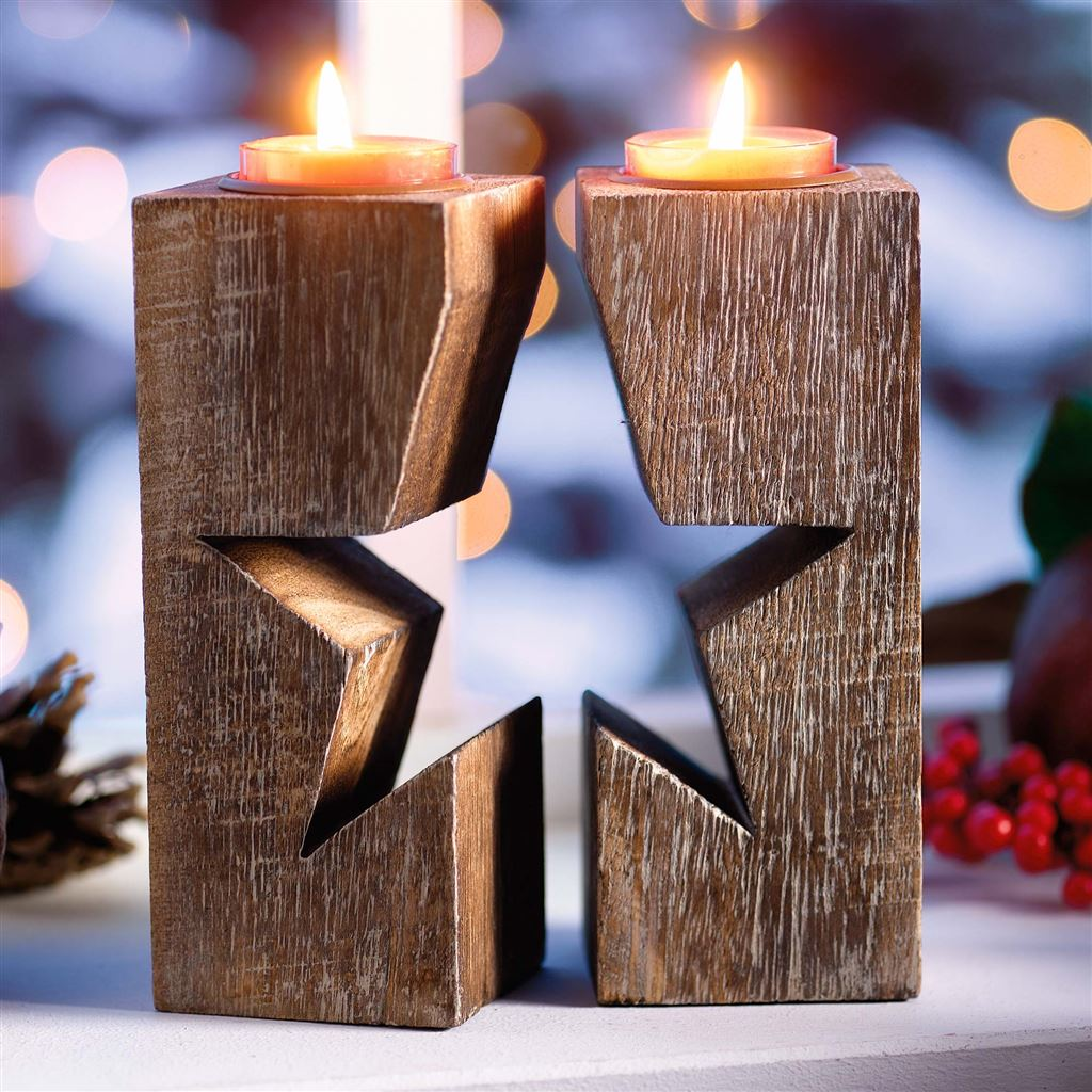 wood christmas decoration 2 5 - Christmas Log Candle Holder Decorations