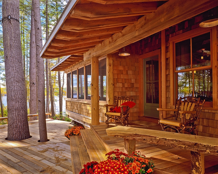 wood beam roof, wall and floor, wood banch, chair, terrace decoration design ideas
