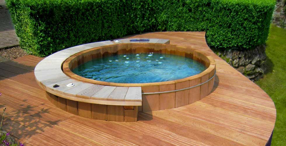 wood floor, wooden hot tub design ideas