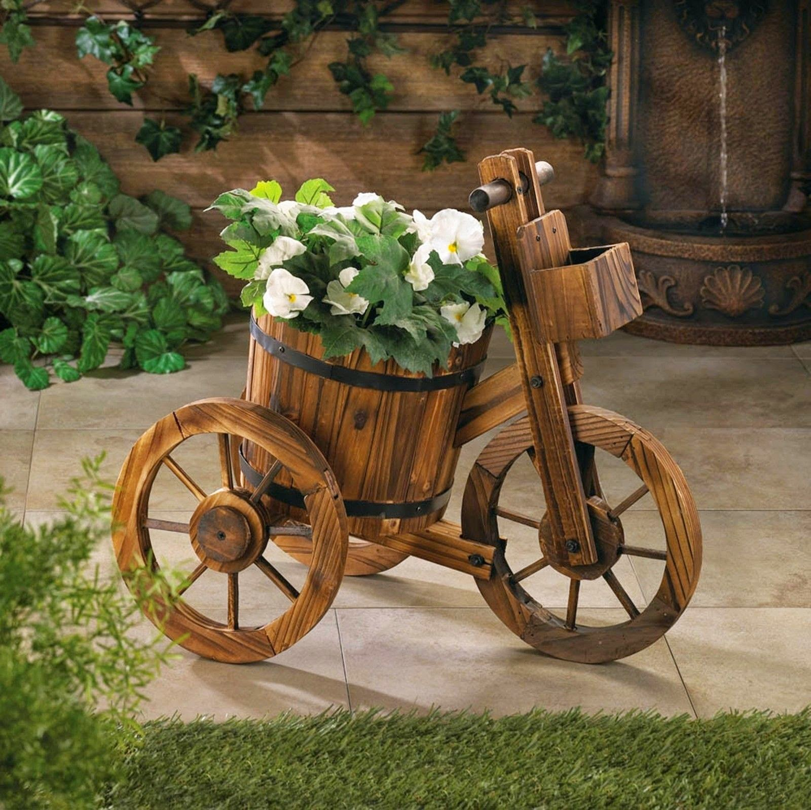 wood tricycle plant holder design ideas