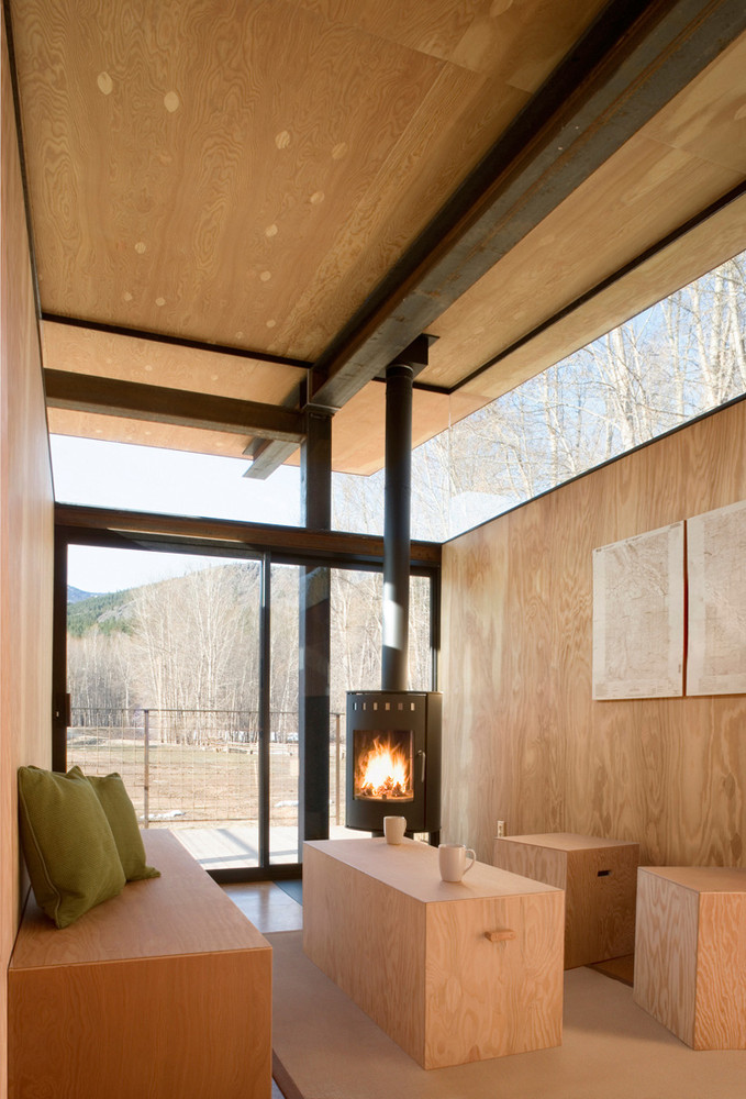 wood rolling hut interior design ideas, fireplace