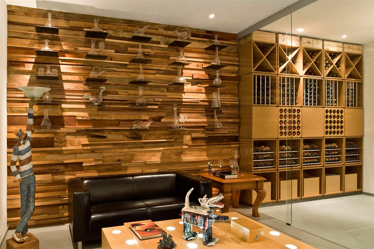 wood wall with shelves, design ideas