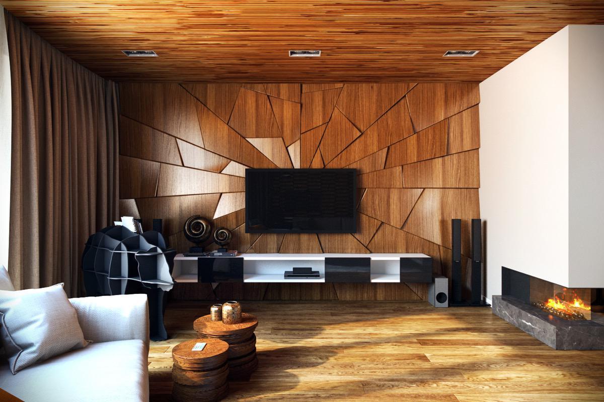 wood wall cozy look, living room design ideas