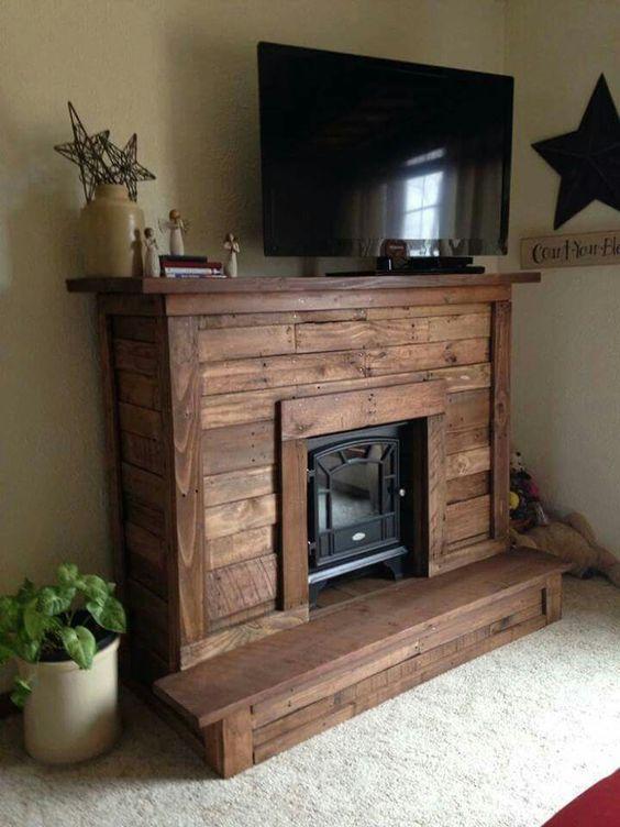 wood pallet design ideas, fireplace mantel