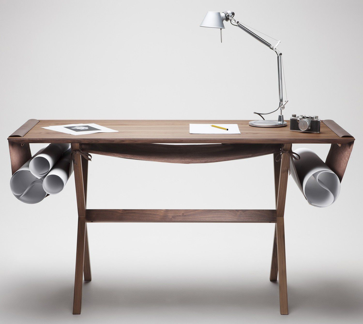 "The materials used are solid wood and soft leather, at the same time. ""Oscar"", this desk, which combines intentionally a ..."