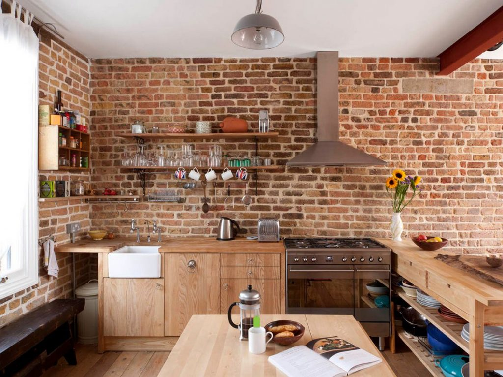 rustic wood and bricks kitchen interior