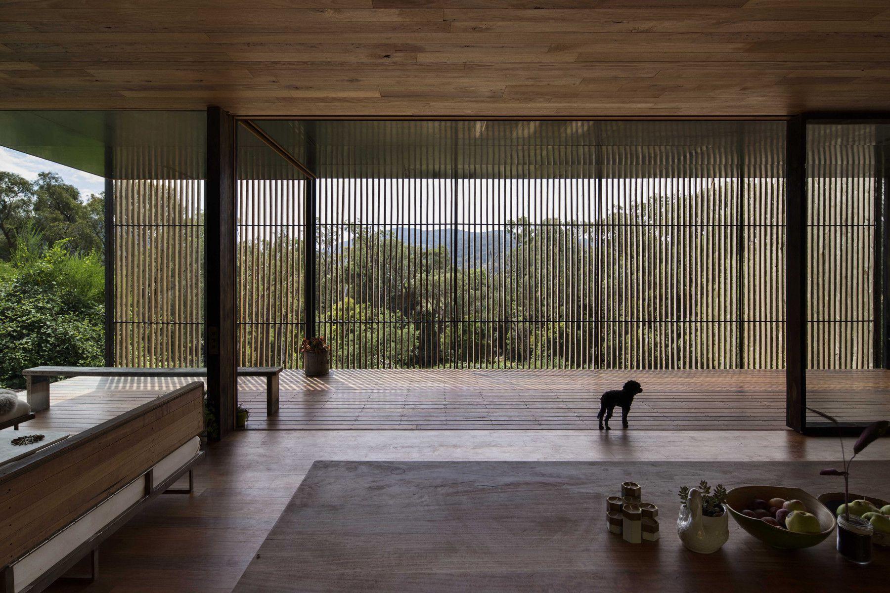 Concrete blocks and wooden interior architecture