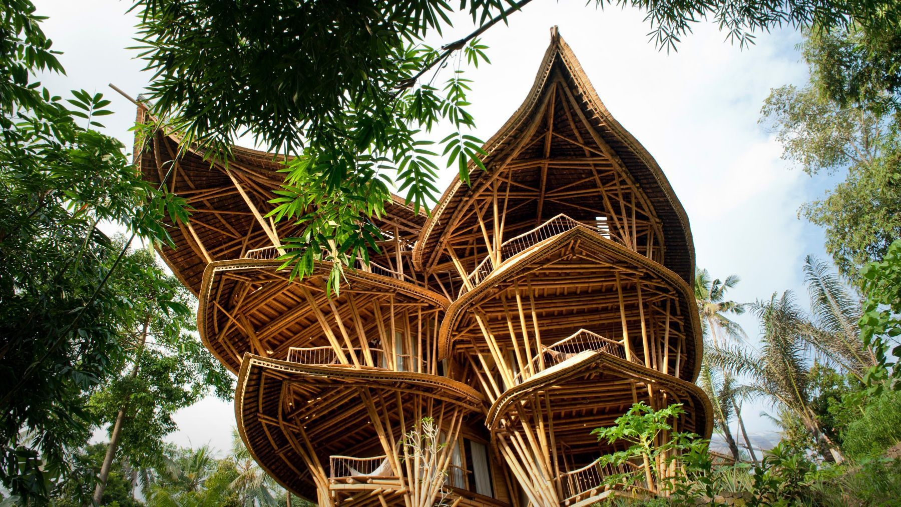 The buildings are designed to have few walls or windows and are created exclusively from bamboo, which is aesthetically beautiful, ...