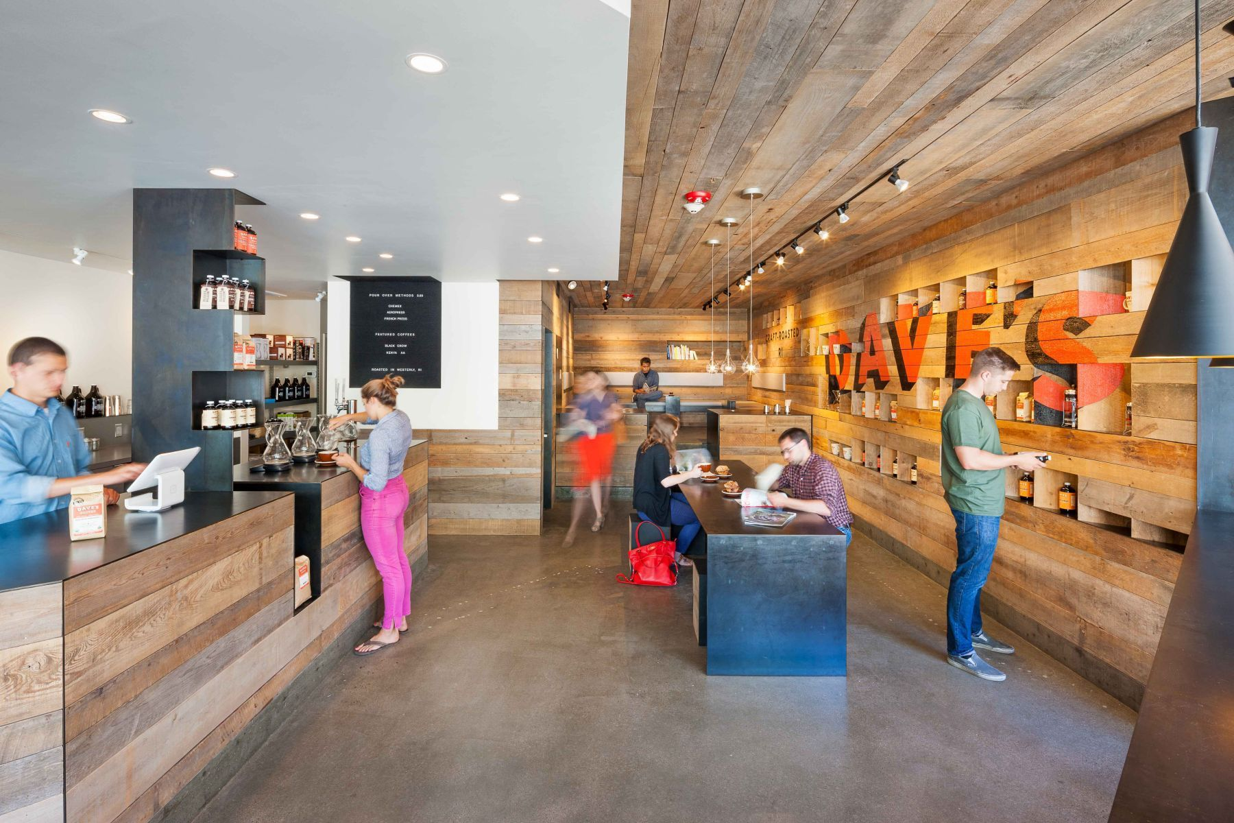 The challenge was to create a second location for Dave's Coffee in Providence that would embody and develop a design ...